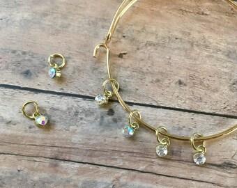 Stitch Markers for Socks - Golden Crystal Stitch Marker Bracelet - set of 5 for your knitting project bag