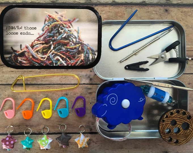 Loose Ends: Travel knitting notions for your project bag! Mini scissors - stitch markers - cable needle - row counter