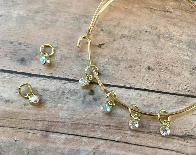 Stitch Marker Bracelet - Golden Crystals