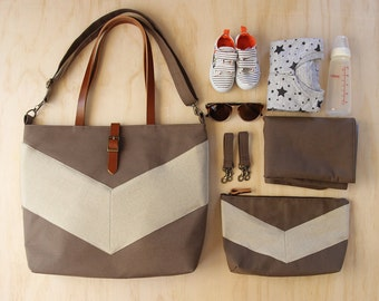 LARGE, oatmeal linen chevron, brown diaper bag set. diaper bag, nappy pouch, change mat and detachable clips.  Waterproof lining available