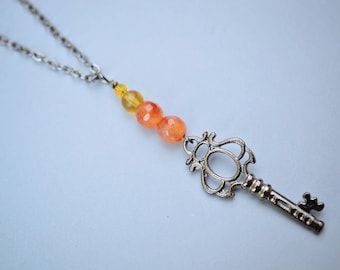 Agate Skeleton Key Necklace, Orange Agate Necklace, Gunmetal Necklace, Long Necklace, Yellow Czech Necklace, SRAJD