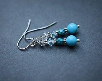 Blue Pearl Earrings, Swarovski Pearl Earrings, Turquoise Earrings, Czech Earrings, Blue Earrings, Steel Earrings, Teal Earrings, Swarovski