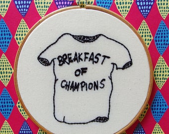 Breakfast of Champions T-shirt - hand embroidery of Kurt Vonnegut illustration hoop wall decor