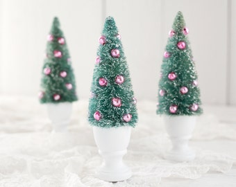Fancy Bottle Brush Tree - Decorated Sisal Tree with Vintage Pink Glass Beads and Wooden Urn
