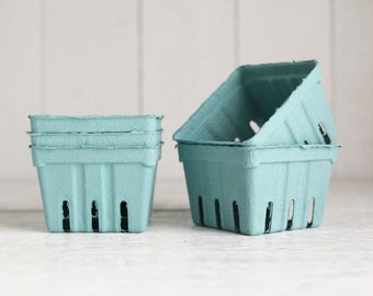 Berry Baskets - 5 Teal Paper Pulp Boxes