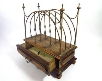French Antique Pharmacy Rack in Metal and Wood