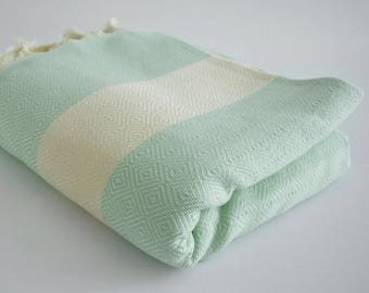 NEW / SALE 30 OFF/ Diamond Blanket / Mint Green / Bedcover, Beach blanket, Sofa throw, Traditional, Tablecloth