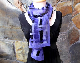 Narrow nuno felt scarf in shades of purple