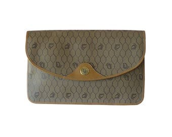 Christian Dior Brown Signature Beehive Envelope Clutch Bag Made in France