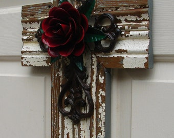 PC057 Medium Rustic White Stacked Cross with Red Rose