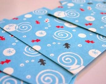 "Mini Koi Pond Envelope - Japanese motif mini envelopes (5 envelopes 2-5/8"" x 2"" )"