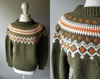 Vintage 50's Norway Hand Knit Wool Sweater Olive Green Chartreuse Large Wool Sweater Handknit Scandinavian Traditional Iceland Warm Thick
