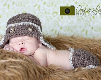 Aviator Earflap Hat and Diaper Cover, Newborn Photo Prop, Halloween Costume for Baby, Little Flyer, Occupational Hats for Baby, Nursery