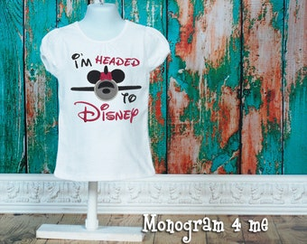 Minnie Mouse Airplane I'm Headed to Disney Applique Shirt, Disney World Shirt, Airplane Shirt, Hot Pink and Black