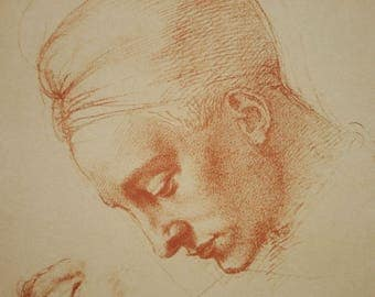 Michelanglelo Study for Head of the Madonna Red chalk Fratelli Alinari Reproduction 1950s