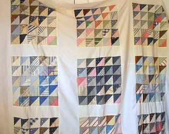 Vintage handmade blues and white hand sewn Quilt Top