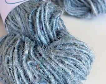 Sari Silk Yarn, 50g skein, Arctic blue, silk yarn, Eco Friendly Yarn, knitting yarn, jewelry making, unique craft supplies