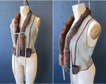 CHAR & SHER Vintage 70s Vest | 1970's Suede Fur Top w/ Buffalo Coins | Hippie Boho, Southwestern Festival, Designer Mountain Look | Sz Small