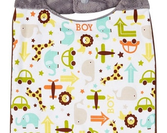 Sale Baby Boy Bib - Boys Bib- Zoo Bib-Bib for Boys-Zoo bib boys-Baby Bib Zoo- Zoo Baby Shower- Zoo Baby Gift- Handmade baby gifts- Minky Bab