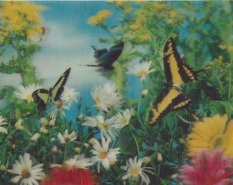 Vintage Lenticular (3D) Butterflies & Flowers Postcard by Wonder Co., 1970s