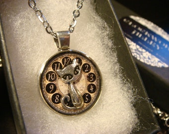 Small Silver Cat Over Clock Pendant Necklace (2243)