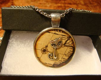 The Traveling Cat - Silver Cat Over Vintage Map Pendant Necklace (2404)