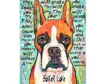 Boxer Love Print 8x10 Fawn Boxer version