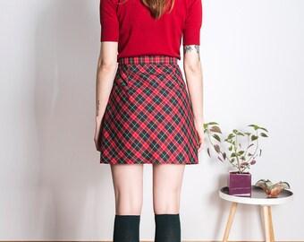 Checked Skirt 1960s Mod mini scooter suedehead Custom made