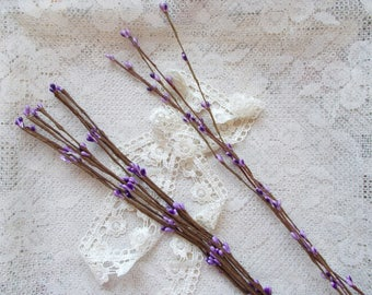 Pip Berry Stems, Scrapbook Embellishment, Card Making, Mixed Media, Purple, Flower Stamen