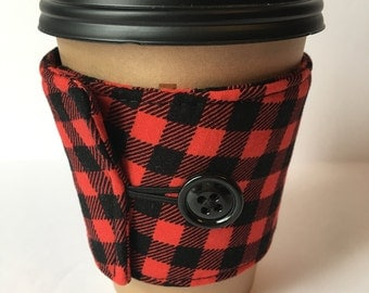 Coffee Cozy- Buffalo Plaid Coffee Cup Sleeve - Reusable Coffee Sleeve