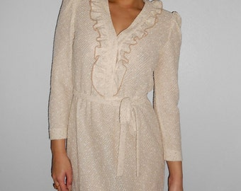 Vintage 1970s LESLIE FAYE  beige woven knit tuxedo-style secretary dress, size XS /  Small