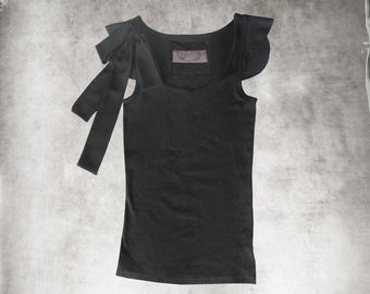 Black bow top/Adjustable ties/scallop short sleeve/scoop neck tank