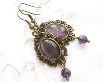purple victorian earrings purple earrings bronze earrings purple jewelry victorian jewelry purple dangle earrings