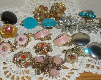 Vintage; Estate Clip On Earrings Lot 13