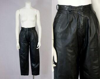 "80s Vintage Black Leather High-Rise Pleated Pants (XS, S Petite; 25"" Waist)"