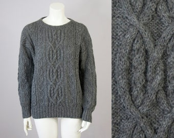 80s Vintage Charcoal Grey Cable Knit Baby Alpaca Wool Sweater (S,M, L)