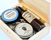 Men's Grooming Gift Set in Wood Box with Beard & Mustache Oil and Balm, Salt or Coffee Scrub, Grooming Kit, Beard Care, Exfoliant, Skin Care