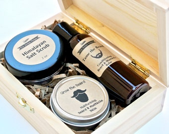 Men's Grooming Gift Set in Wood Box with Beard & Mustache Oil and Balm, Salt or Coffee Scrub, Grooming Kit, Beard Care, Exfoliant, Skin Care