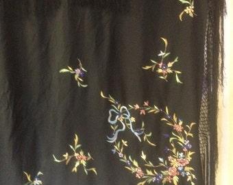 Vintage silk piano shawl