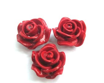 3Pcs Imitation Red Coral Rose Flower Beads DIY Jewelry Finding 20mm*12mm  ja665