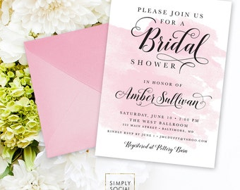 Blush Bridal Shower Invitation - Blush Pink Watercolor Classy Black and White Calligraphy Typography Bridal Shower Printable