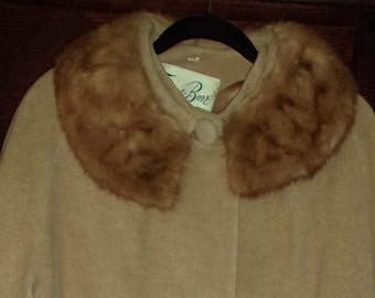 1960s Famous-Barr 100% Cashmere Coat with Mink Collar L
