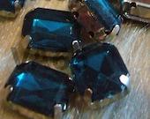 Sew On Rhinestones Crystal Indicolite Blue DIY Emerald Princess Cut Rectangle 8mm x 10mm 4 hole Montee Acrylic Pronged Flat Back Beads