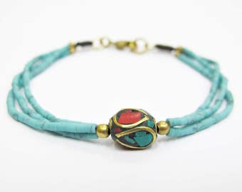 Yoga Bracelet - Turquoise Baked Clay and Ellipse Tibetan Style Brass Bracelet.