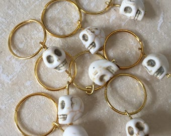 Halloween Hair Decor White Skull Hair Ring Hairrings Hairring Set of 8 pcs. Hair Jewelry Braid Decoration Item Steampunk Gothic Style