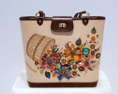 Enid Collins Castaway Bag Vintage 1970s Collins of Texas Bucket Purse Basket with Flowers Canvas Handbag Floral Multicolor Jewels Opalescent