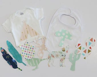 Iron on Woodland Baby Girl Appliques Set of 10 Baby Shower Activity Woodland Baby Shower