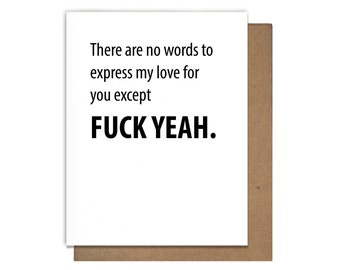 Fuck Yeah Love Letterpress Greeting Card Anniversary Engagement Valentine's Day