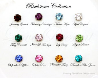 Cyber Monday Bridesmaids Gift - Classic Sparkly Birthstone Swarovski Crystal Studs Gold post Earrings - Choose your color