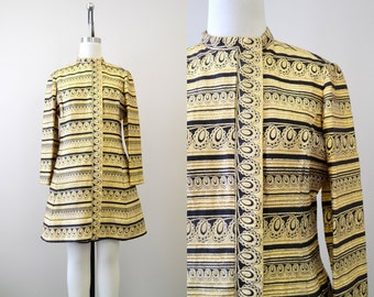 1960s Ceil Chapman Gold and Black Brocade A-Line Dress